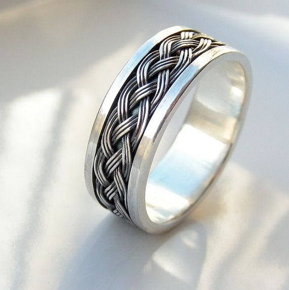 Wide Celtic  Sterling Silver Men's Wedding Band Men's by edhelien