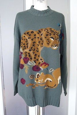 Sweater gorgeous leopard and creatures vintage 44 / 10