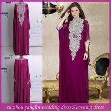 Wholesales 2014 Hot Sales Abaya Dress High Neck Long Sleeve Beaded Kaftan Muslim Dresses