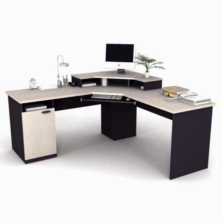 Long Sectional Two Tone Computer Desk With Stand And File Cabinet