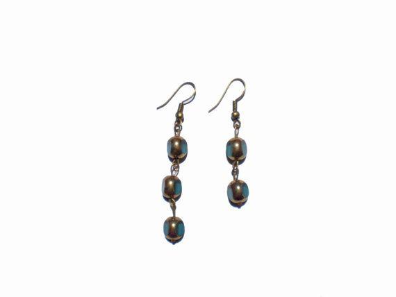 Peacock Green Dangle Earrings Beadwork Blue by twolittlefairies