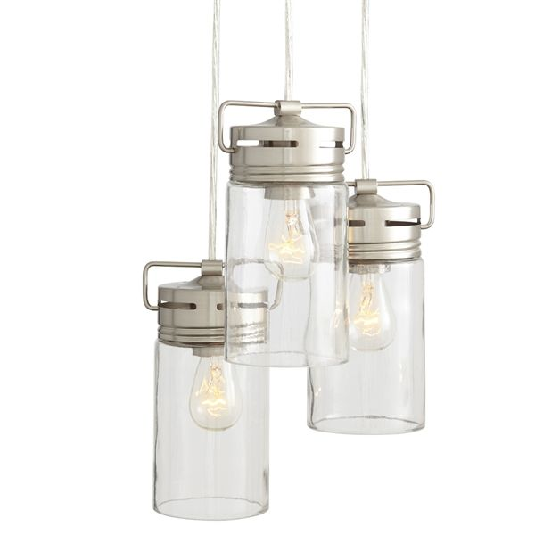 allen + roth Vallymede 9.84-in Brushed Nickel Barn Hardwired Multi-Light Clear Glass Jar Pendant   Lowe's Canada