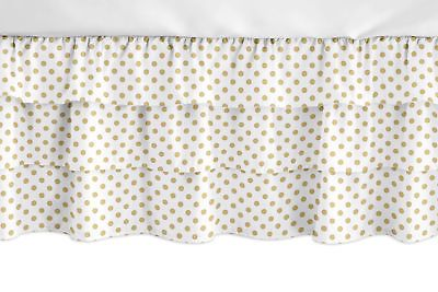 Bed Skirts 66726 Watercolor Floral Gold White Polka Dot Girl
