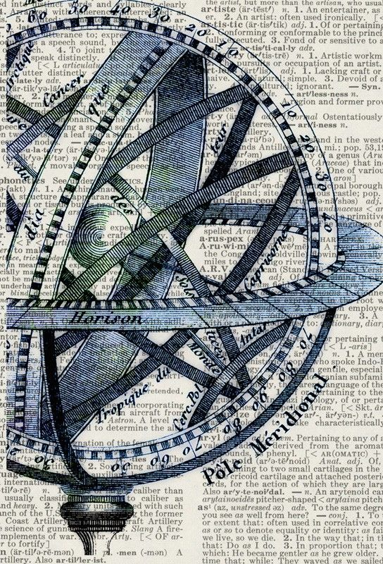 Celestial globe dictionary print