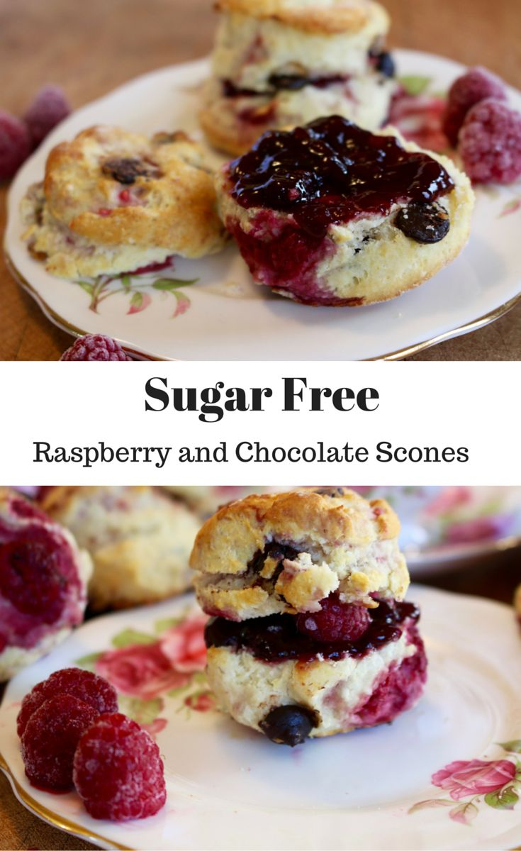 Sugar Free Raspberry and Chocolate chip Scones