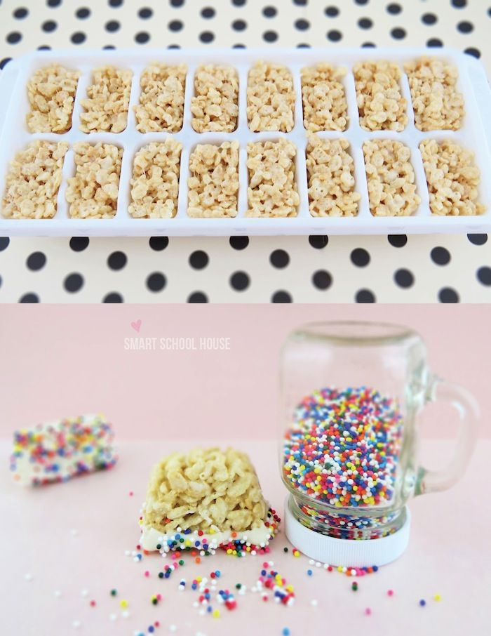 Sprinkle-topped Rice Krispie Treats are perfectly portioned for kids when made in ice cube trays.