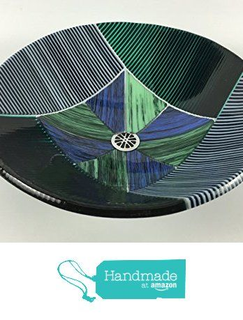 Blue And Green Large Fused Glass Vessel Sink   17 1/4 Inch Diameter From