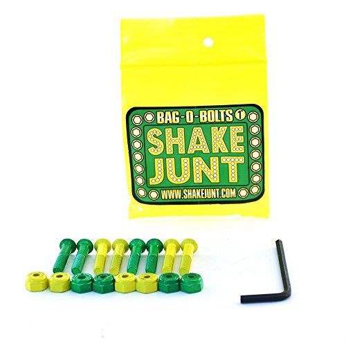 Shake Junt Bag-o-Bolts - 1`` Skateboard hardware Fresh product from Shake Junt, these 1 mounting bolts come as 4 green and 4 yellow bolts and nuts, get customising! (Barcode EAN = 5018125769660). http://www.comparestoreprices.co.uk/december-2016-6/shake-junt-bag-o-bolts--1-skateboard-hardware.asp