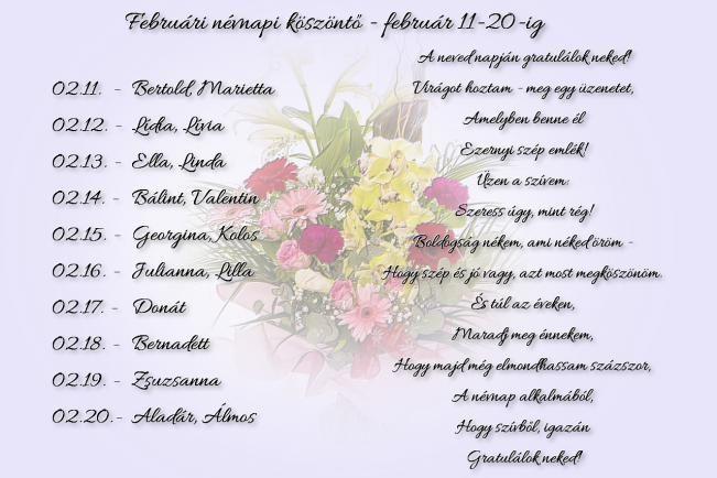 Februári névnapi köszöntők - február 11-20.
