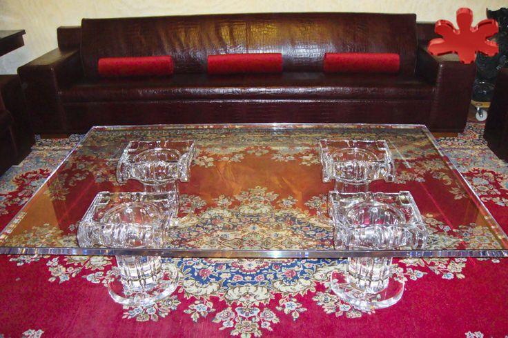 Acrylic furniture - Lucite Acrylic coffe table - TAVOLINI DA SALOTTO IN PLEXIGLASS | Tavolo trasparente in plexiglas 11.mod. IONICO   | Tavolino in plexiglas cm.200 x 120 h.40 - 4 basi mod. IONICO fusto diam.cm.20 - piano in plexiglass sp.mm.40 #lucite #design #homedecor #acrylic