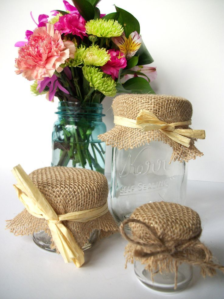12 Burlap Jam Jar Covers, Cloth Toppers, rustic fabric for mason jars, food preservation, country cottage shabby chic wedding baby shower favors, CanningCrafts, Etsy $5