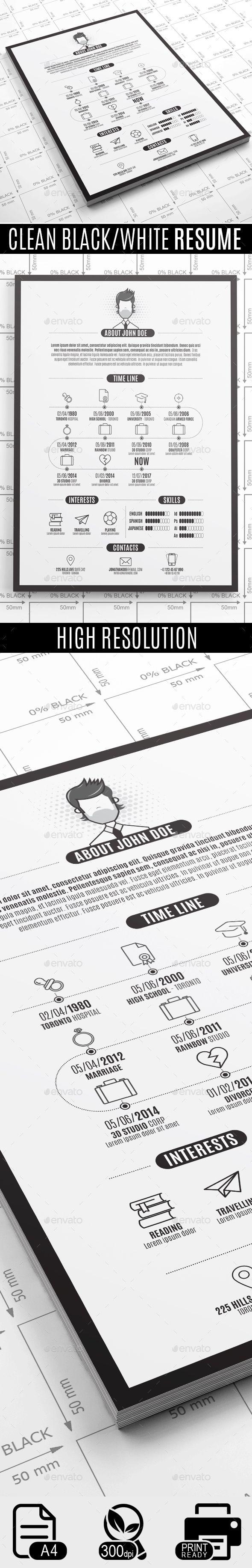 Clean Black White Resume