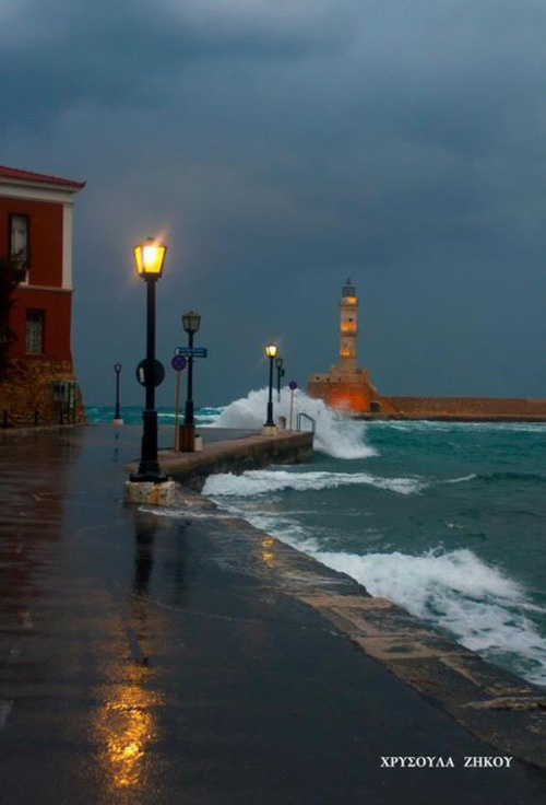 Chania harbor, island of Crete ~ Greece. This place was so beautiful.