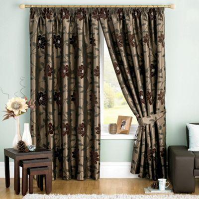 Sundour Carnaby Chocolate Pencil Pleat Curtains-   Debenhams