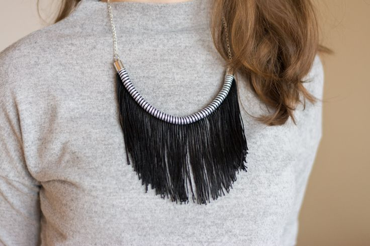 Fringe! | #deuxsoray #ds #rope #ropenecklace #ropejewlery #handmade #jewlery #fringe #etsy #seller #black #white #original #accessories #design #sisters #two