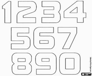 desenho de Números de um a nove terminando com zero para colorir