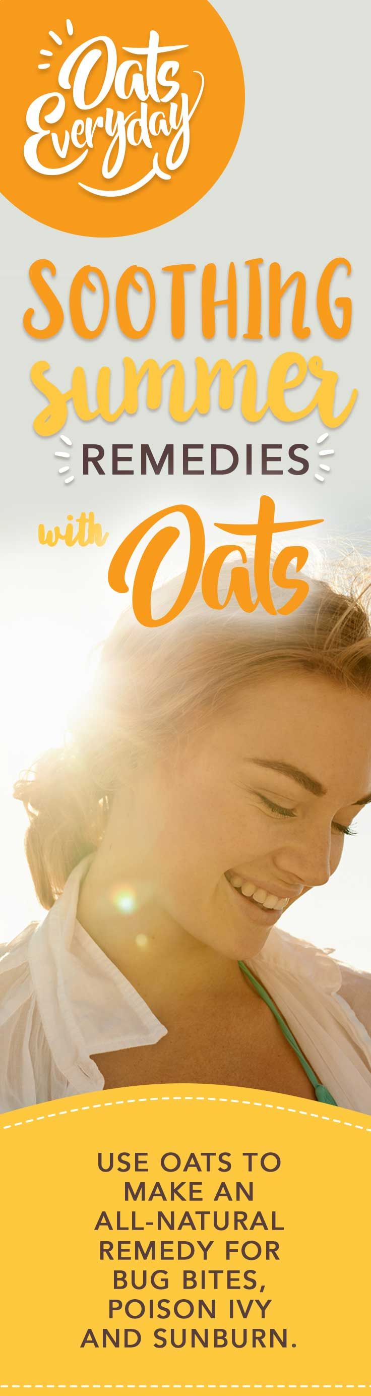 Oats are a natural, hypoallergenic alternative to commercial skin-care products and are full of B-vitamins which can help moisturize and repair dry and blistered skin.