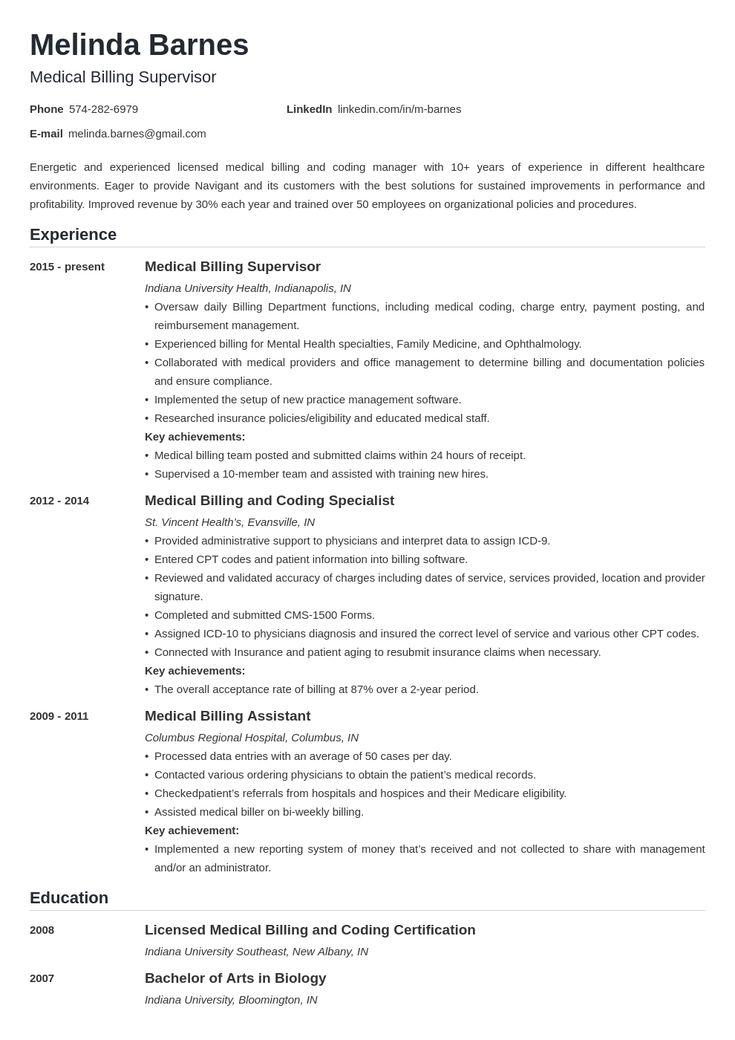 medical billing resume formats