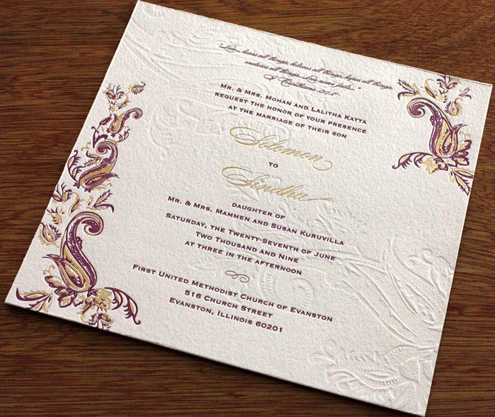 Elegant Paisley Foil, Letterpress And Blind Wedding Invitation. |  Invitations By Ajalon | Invitationsbyajalon