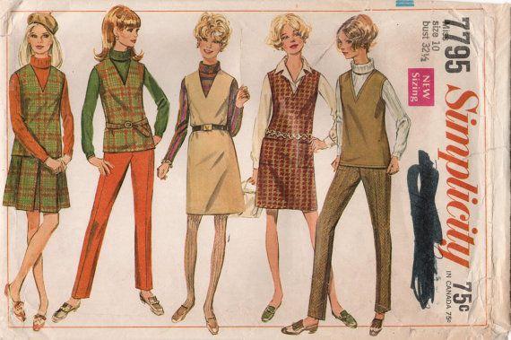 1960s Simplicity 7795 Vintage Sewing Pattern от midvalecottage