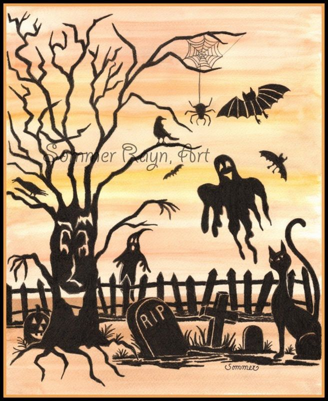 Item 0126a, Halloween Scene with trees, tombstones, bats and ghosts, watercolor print or card, Shadow Kitties