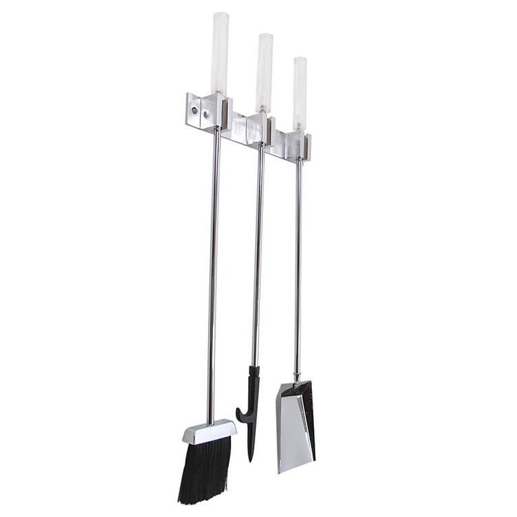 Wall Mounted Lucite and Chrome Fire Tool Set   From a unique collection of antique and modern fireplace tools and chimney pots at https://www.1stdibs.com/furniture/building-garden/fireplace-tools-chimney-pots/