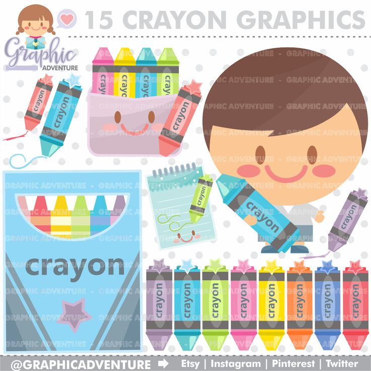 75%OFF - Crayon Clipart, Crayon Graphics, COMMERCIAL USE, Kawaii Clipart, Crayon Icons, Digital Clip Art, School Clipart, Back to School