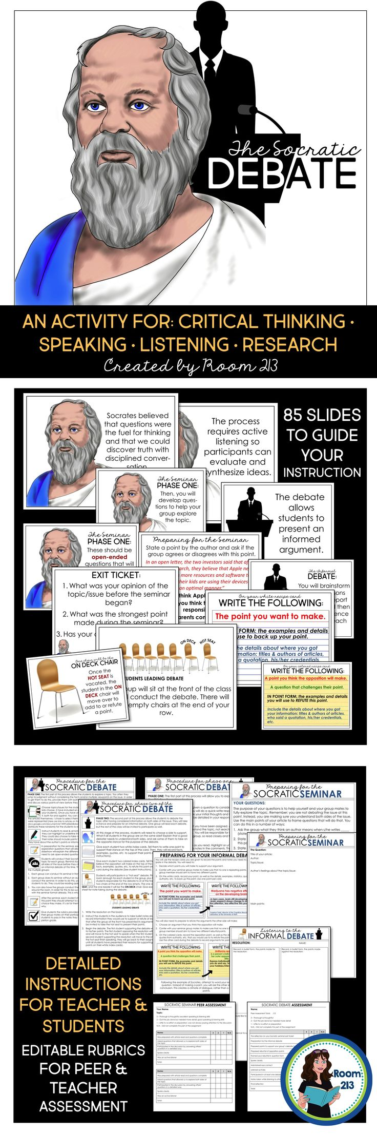 Middle and highs school English teachers: would you like your students to be more engaged when they do their debates? Try a Socratic debate to guide them through the critical thinking process they need to be effective debaters. You can read all about it on my blog post.