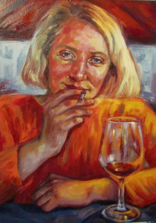 oil painting by paige emery   #oilpainting #orange #wine #portrait #post-impressionism