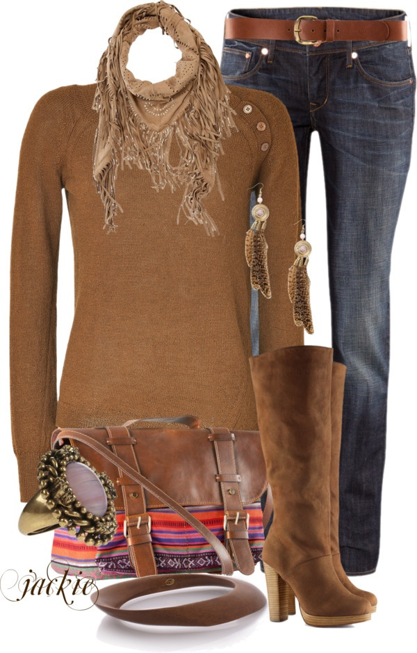love this: Cowboy Boots, Fashion Clothing, Fashion Clothes, Fall Outfits, With Colorful Www Com, Brown Sweater, Polyvore, Cowboys Boots, Farb Und Stilberatung