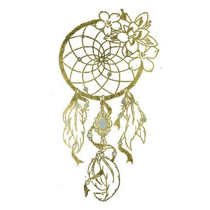 Gold Metallic Dream Catcher with Flowers