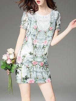 Green Sheath Crew Neck Floral Casual Mini Dress