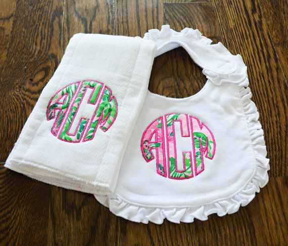 Lilly Pulitzer Monogram Bib and Burp Cloth by TheCoralCharmShop