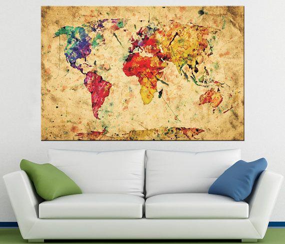 Large Wall Art World Map Canvas Art Watercolor World Map