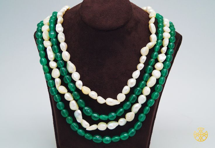 A fresh water pearl mala with an elegant dash of color in green and white must reside in your closet!  Follow us on Instagram: instagram.com/malanajewels/  Like us on Facebook: www.facebook.com/malanajewels  To buy, please mail us on info@malanajewels.com with your requirements or call us on +91 9820302982.