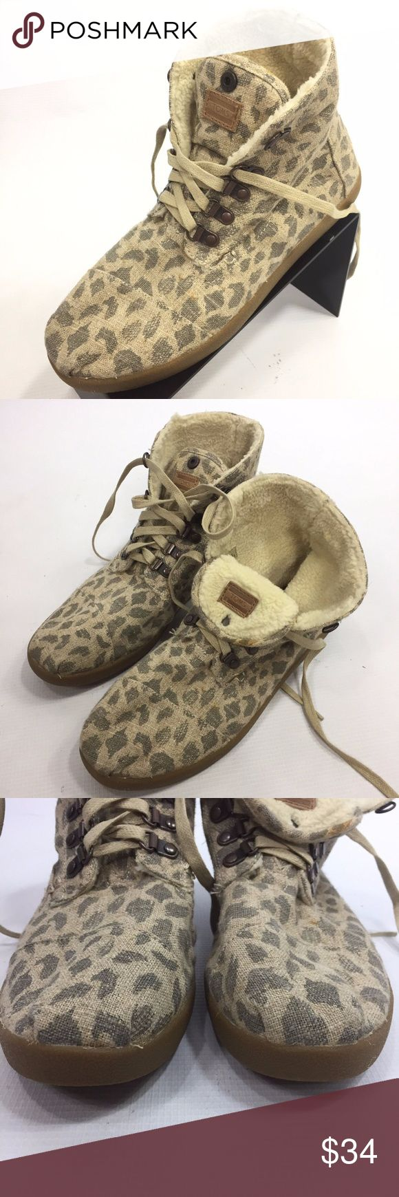 Toms Botas Leopard Burlap Hemp 10 High Tops Toms Women's Botas Leopard Burlap Hemp 10 Snap Tongue High Tops  Some marks; See photos for details Toms Shoes Ankle Boots & Booties