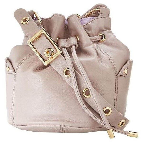 Juicy Couture Women's Selma Leather Collection Mini Bucket Bag Clutch... ❤ liked on Polyvore featuring bags, handbags, mini handbags, juicy couture handbags, juicy couture purses, brown leather purse and genuine leather purse