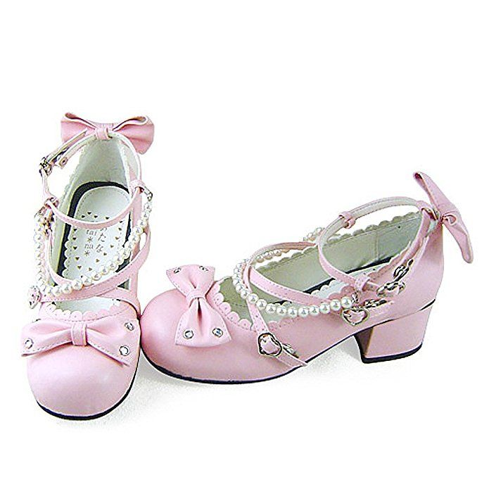 Amazon.com | antaina Low Heel Pink PU Beads Bows Cute Chunky Lolita Casual Pumps Shoes | Shoes