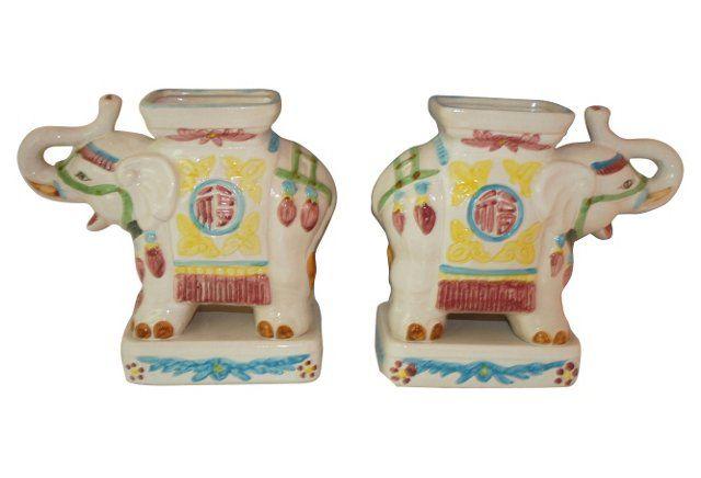 Ceramic Elephant Planters, Pair