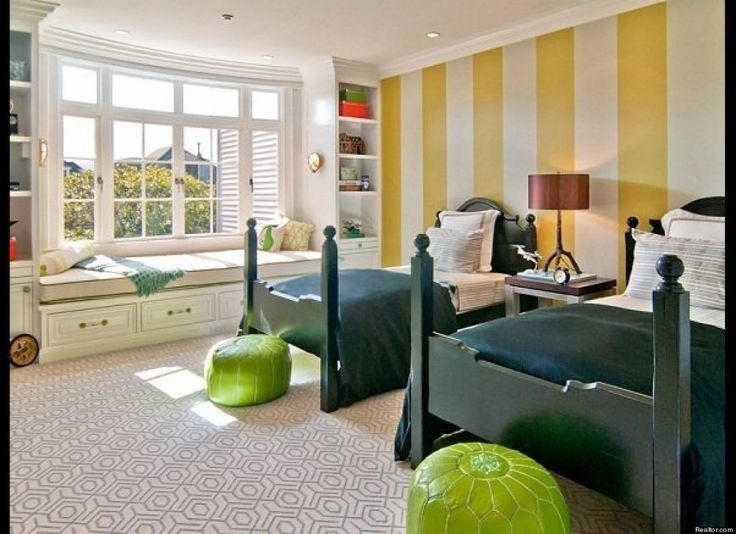 The walls and carpet make the room.: Kids Bedrooms, Stripes Wall, Boys Bedrooms, Boys Rooms, Child Bedrooms, Guest Rooms, San Francisco, Window Seats, Kids Rooms