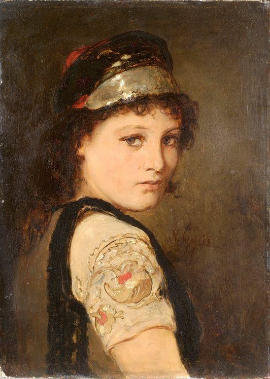 """Girl from Megara"" | Nikolaos Gyzis (1842-1901) , Benaki Museum, Athens, Greece. ""Κοπέλα από τα Μέγαρα"". Ελαιογραφία του Νικόλαου Γύζη (1842-1901)"
