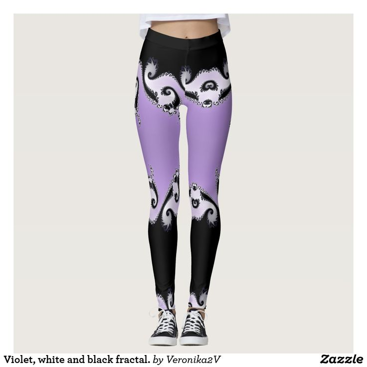 Violet, white and black fractal. leggings, artwork, buy, sale, gift ideas, violet, purple, pink, black, fractal, pattern, waves, bright, colorful, white, liliac,  fashion, woman, girl, clothing, apparel, leggings