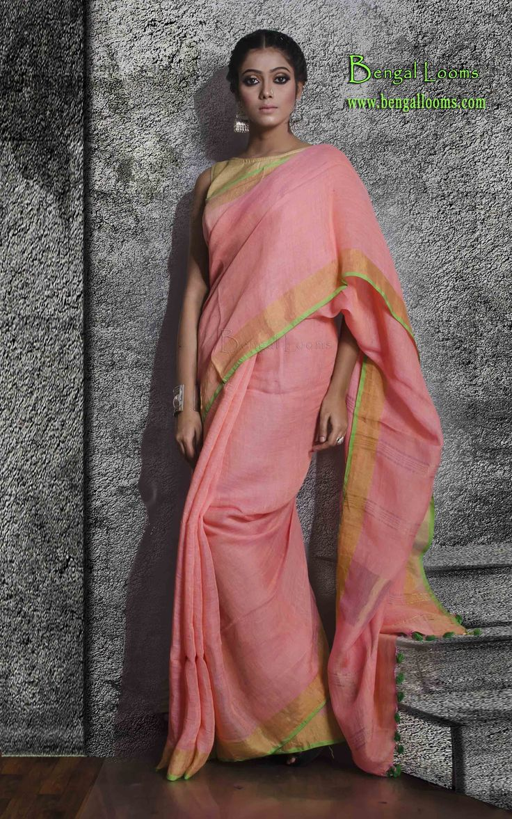 Zari Border Linen Saree in Pink and Gold