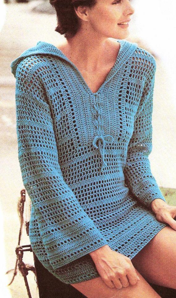 Crochet Hoodie Pullover Tunic  PATTERN, Crochet Top Pattern, Beach Cover-up, Womens Hoodie Top Filet Crochet Mesh Pullover, Digital Download