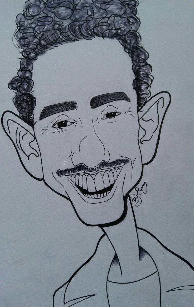 Caricature of Ray Santiago.