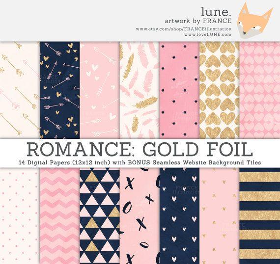 Romaanse digitale papier. Goud folie / Marine / roze / crème / aquarel papier textuur. Gratis bijpassende Website tegels. Valentijnsdag papieren patroon