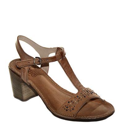 #Sandalo con il tacco grosso di media altezza con il cinturino a T in pelle color cuoio di #Khrio  http://www.tentazioneshop.it/scarpe-khrio/sandalo-14369-cuoio-khrio.html