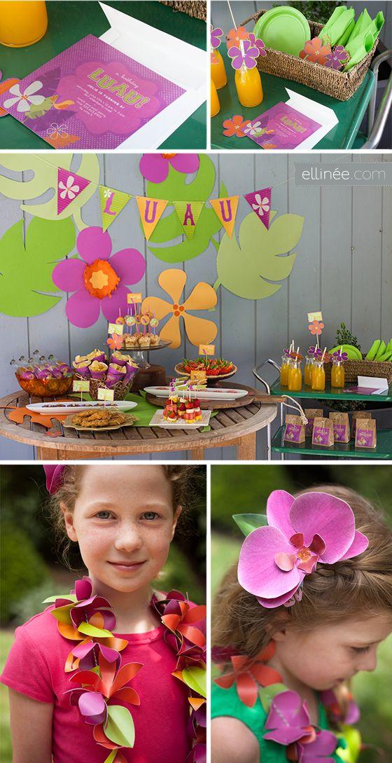 """Celebración con tema tropical. (En el tablero """"Cómo hacer"""" se encuentra cómo hacer orquídeas con papel) ✿⊱╮"""