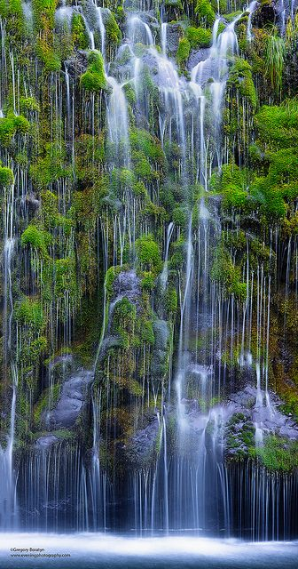 Mossbrae Waterfalls, California - they flow into the Sacramento River in the Shasta Cascade area in Dunsmuir, California; photo by .Gregory Boratyn