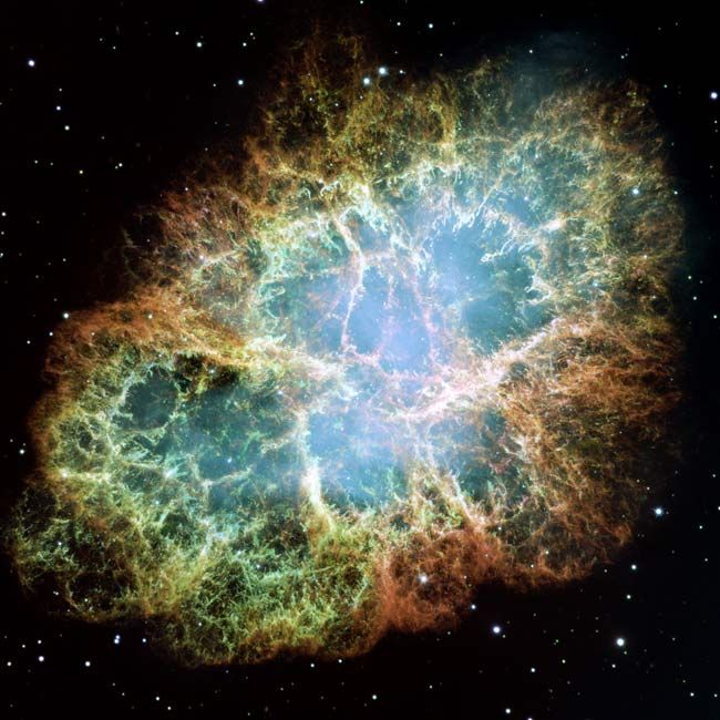 The Crab Nebula - The Hubble Space Telescope has caught the most detailed view of the Crab Nebula in one of the largest images ever assembed by the space-based observatory.  CREDIT: NASA/ESA and Jeff Hester (Arizona State University).